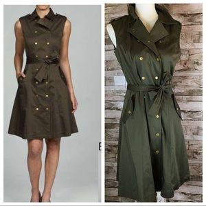 NWT CALVIN KLEIN olive military style dress